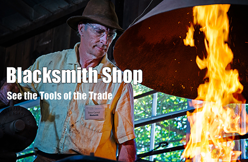 Photo of Blacksmith at work in the Blacksmith Shop at Rancho Los Alamitos. See the Tools of the Trade